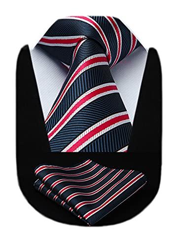 HISDERN Extra lange gestreifte Krawatte Taschentuch Herren Krawatte & Einstecktuch Set (Rot & Blau)