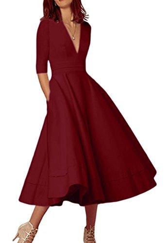 OMZIN Damen Cocktailkleid Vintage Partykleid Kleid 1950er Wadenlanges Plus Größe Abendkleid Burgundy XXXL