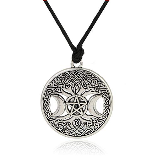 Celttic Knot Triple Moon Pentagram Pentacle Star Wicca Pendant Necklace Round Pagan Jewelry (Antique silver)