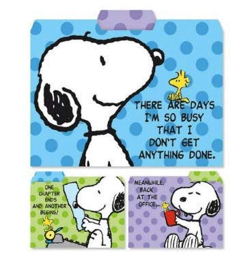 Peanuts Worldwide Snoopy and Woodstock File Folders, 1/3 Cut, Top Tab, Letter Size, Set of 3