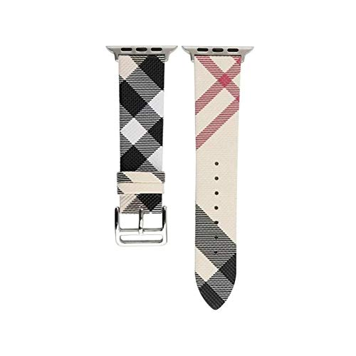 DXFFOK Strap for Apple Watch 6 band 44mm 40mm Italy Plaid Pattern Genuine Leather wristband Bracelet belt for iwatch 6/5/4/3/SE 38 42mm Watch strap (Band Color : Plaid Khaki, Size : 38 or 40mm)