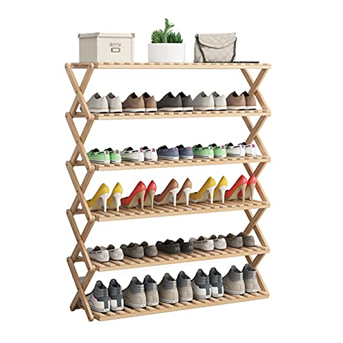 Estante de Almacenamiento de Zapatos con Soporte de Planta de 6 Niveles, Estante de Exhibición de Zapatos de Bambú Vertical Estable, Estantes para Plantas, Soporte de Maceta Plegable para Entrada