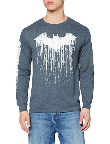 dc comics Batman Paint T-Shirt Manches Longues, Gris foncé chiné, XL Homme