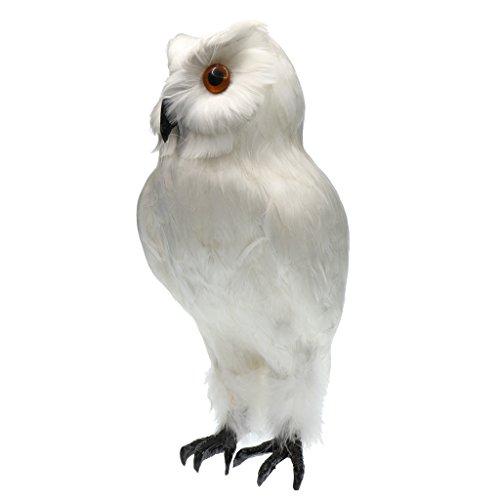 Fenteer Künstliche Eule Vögel Gefiederte Eule Garten Vögel Figur Simulation Ornamente Deko Eule Garten Dekofigur Teichfigur Garten Dekovogel Gartenfigur - Weiß # 1, 18x 27cm