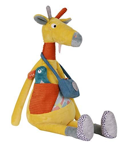 EBULOBO - Peluche Billie la Girafe d'Activités - Doudou d'Eveil Mixte - Grelot - Papier Bruissant - Pouet - Cui Cui Electronique - Création Française