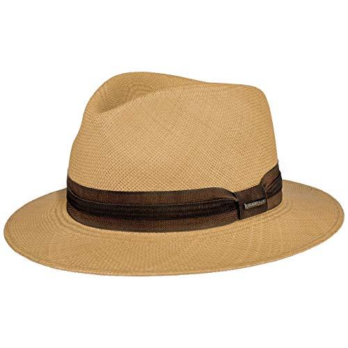 Stetson Sombrero Panamá Kamarro Hombre - Made in Ecuador de Sol Verano Paja Primavera/Verano - XL (60-61 cm) castaño Claro