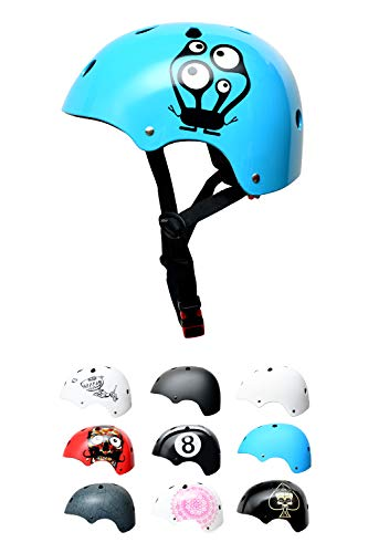 Skullcap BMX Helm - Skaterhelm - Fahrradhelm - Herren Damen Jungs & Kinderhelm, hellblau, Gr. S (53 - 55 cm), Monster Blue