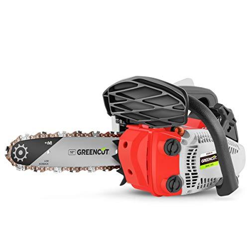 GREENCUT GS250X-10 - Motosierra Poda de gasolina 25,4cc y 1,4cv con espada de 10'' Arranque Easy-Start, Sistema Anti-Vibración, Incluye protector de espada y KIT