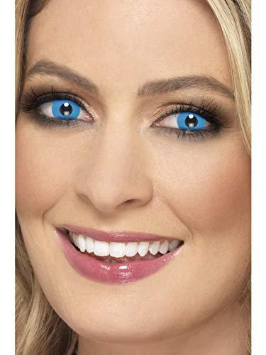 Halloweenia - Damen Herren Kontaktlinsen Party Linsen Harlekin Harlequin, Kostüm Accessoires Zubehör, perfekt für Halloween Karneval und Fasching, Blau