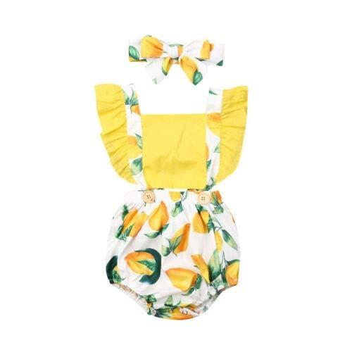HAOJUE - Pagliaccetto per neonata e frutta al limone, tutina per vestiti estivi per neonati (colore: giallo, taglia: 12 m)