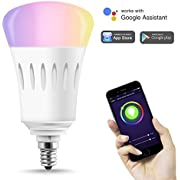 LOHAS Smart Candelabra Light Bulbs E12, RGB White and Color Ambiance Decorative Candle LED Bulb, 40W Equivalent Dimmable Changing Lighting, WiFi Control, Compatible with Alexa&Google Assistant, 2 Pack