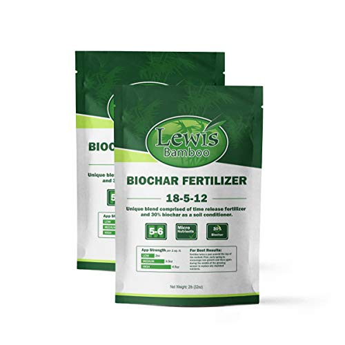 Lewis Bamboo - Biochar Fertilizer 18-5-12 (32oz Bag - 2 PACK) - Time Release Fertilizer with Biochar