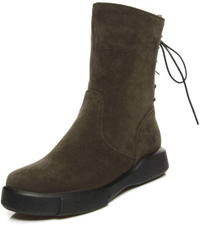 Zarbrina Womens Mid Calf Boots Retro Round Toe Rubber Sole Back Lace Up Short Plush Winter Warm Martin shoes