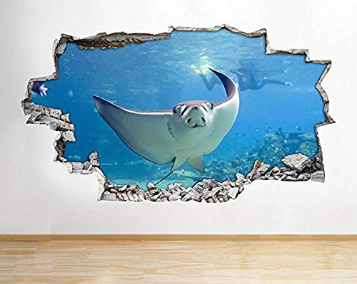 Qixidan Stingray Fisch Aquarium Ozean Meer Wandtattoo Poster 3D Kunst Aufkleber Vinyl Kinder Schlafzimmer Baby Kindergarten Cool Wohnzimmer Halle Jungen Mädchen-115x65cm