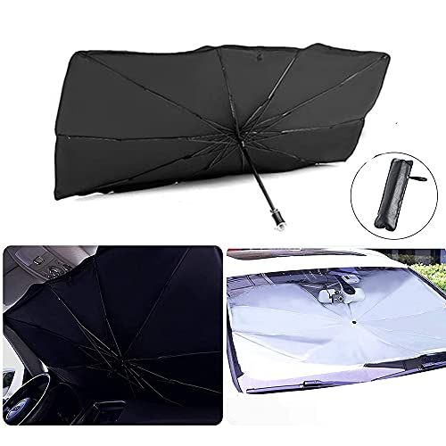 Junzheng Sombrilla Paraguas del Coche,Plegable Parasol para Parabrisas,Parasol Coche Delantero Protector con Anti UV Rayos para Mantener el vehículo Fresco,Apto la Mayoría de Coches y Suvs(135*80cm)