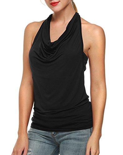 Zeagoo Damen Neckholder Tank T-Shirt Top Bluse