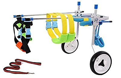 New! Two Wheels Adjustable Dog Wheelchair, cart, 7 Sizes for hind Legs Rehabilitation, 3D Soft Harness, Special Belly Band for Spine Protection and a Beautiful Leash are Free of Charge(4.New-S)