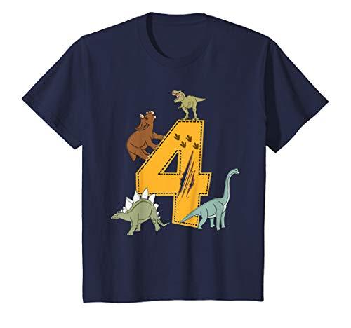 Kinder Geburtstagsshirt 4 Jahre Junge Dinosaurier Dino T-Shirt