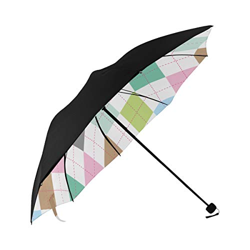 Umbrella Kids Travel Blue Lozenge Checkered Underside Printing Best Umbrella Compact Black Umbrella Travel With 95% Uv Protection For Women Men Lady Girl