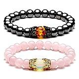 Jovivi 2pcs Couple Bracelets for Men Women 8mm Rose Quartz Magnetic Hematite Healing Energy Beads Stretch Crown King Charm Bracelet Adjustable