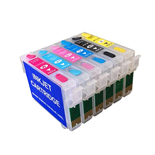 WSCHENG Nuevo 81N T0811N Cartucho de Tinta Recargable para Epson Stylus Photo TX700 TX800 T50 TX710W TX650 TX810FW R270 Impresora con Chips