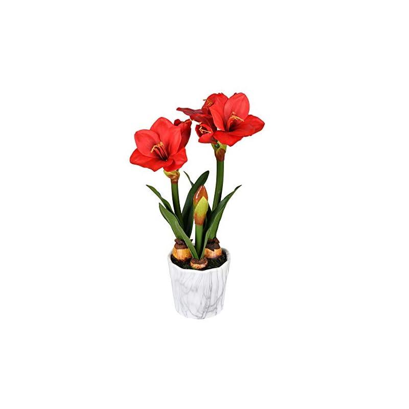 "silk flower arrangements vickerman 22"" red amaryllis floral arrangement. artificial-flowers"