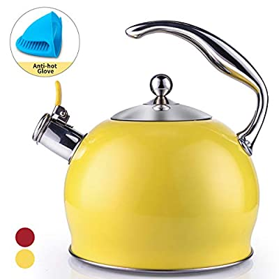 Sotya Tea Kettle Best 3 Quart induction Modern Stainless Steel Surgical Whistling Teapot -Tea Pot For Stove Top (Light yellow)