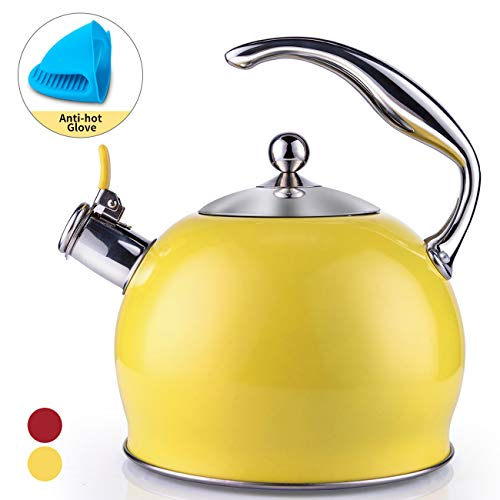 Tea Kettle Best 3 Quart induction Modern Stainless Steel Surgical Whistling Teapot Tea Pot For Stove Top 3L Yellow