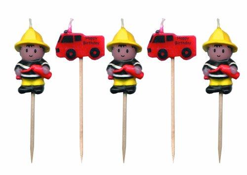 5 Mini-Kerzen * FEUERWEHR * auf Holzhalter für Party und Geburtstag // Kerzen Kuchen Torte Deko Candle Feuerwehrmann Fire Fighter