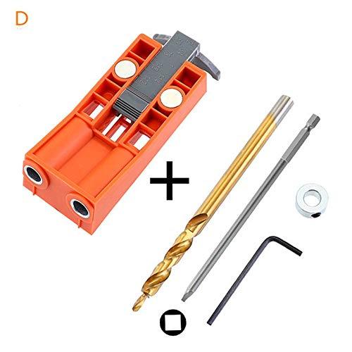 Localizador de guía de broca inclinada con punzón de perforación magnética Juego de plantillas de sierra de espiga Herramientas de carpintería para carpintería - Naranja