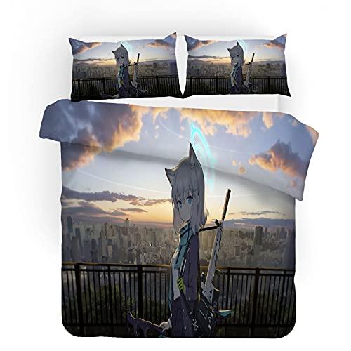 ZJJIAM Bonita ropa de cama para niñas, impresión 3D bidimensional, LOL Cartoon Animation Funda nórdica (1 funda nórdica + 2 fundas de almohada) (8,220 x 240 cm + 2 x 50 x 75 cm)
