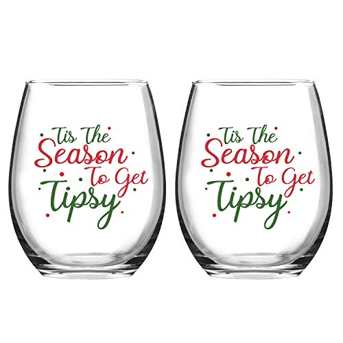 Set of 2 Tis the Season to Get Tipsy Christmas Stemless Wine Glass for Funny Christmas Holiday Gifts 15 Ounce