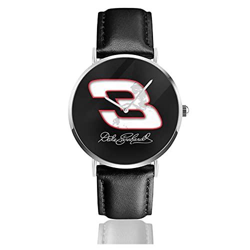 Dale Earnhardt Race Car Imagen Personalizada Personalizada Reloj Deportivo Unisex con Correa de Cuero Relojes de Cuarzo Reloj de Pulsera para Hombres y Mujeres