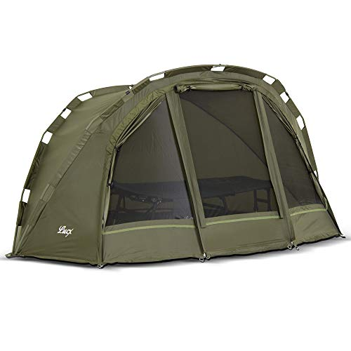 Lucx® Puma Angelzelt 1 Man Bivvy 1 Mann Karpfenzelt Carp Dome Fishing Tent 1 Person Angler Zelt Wassersäule 10.000 mm Campingzelt