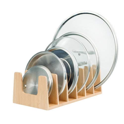 MobileVision Bamboo Pot Lid Holder Organizer for Storage in Cabinets or Kitchen Countertops, 6 Sections
