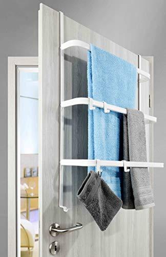 Metall Tür-Aufbewahrung | weiß | ohne Bohren | 2-Wege Bauart | Handtuchhalter mit 4 Haken / 3 Stangen - Hängeregal | universell passend für alle gängigen Türen (weiß)