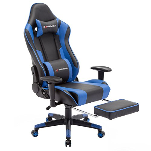 DANSITWELL Gaming Chairs for Adults, Ergonomic Adjustable Racing Chair with Footrest High Back Computer Chair with Headrest and Lumbar Support (Blue) blue chair gaming