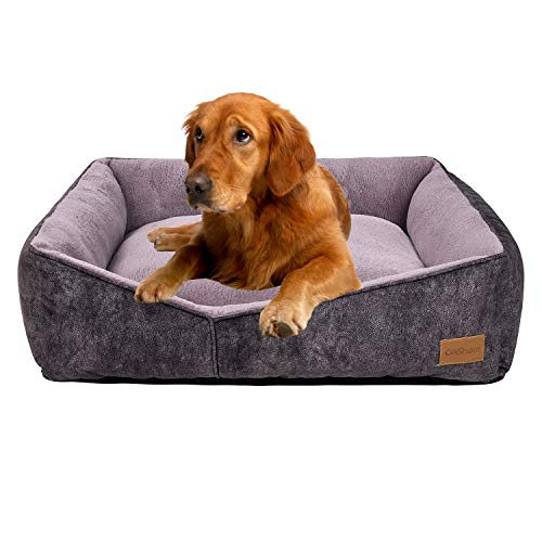 Coohom Rectangle Washable Dog Bed,Warming Comfortable Square Pet Bed Simple Design Style,Durable Dog Crate Bed for Medium Large Dogs (30 INCH, Black)