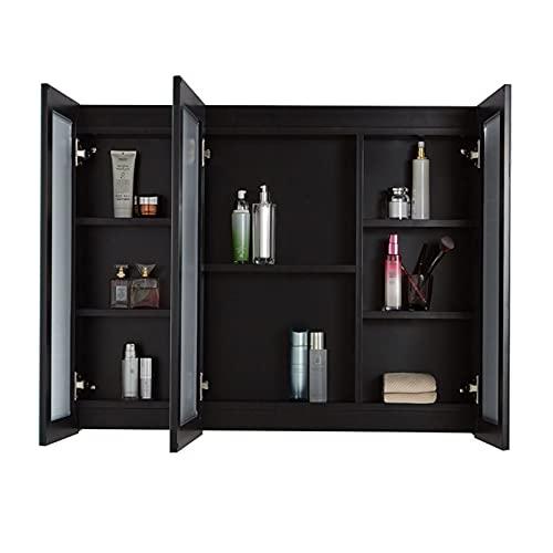 FLAMY Gabinete de almacenamiento de espejo de baño, con iluminación LED, 3...