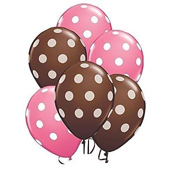 24 Latex Balloons- 12 Brown and 12 Pink Polka Dot Balloons