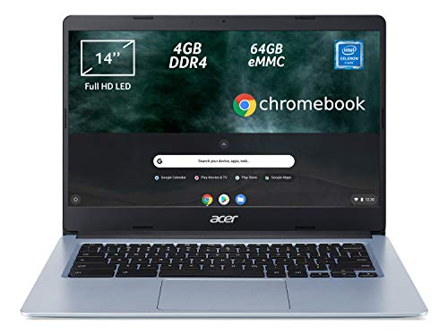 "Acer Chromebook 314 CB314-1H-C2W1 Notebook, Pc Portatile con Processore Intel Celeron N4000, Ram 4GB DDR4, eMMC 64 GB, Display 14"" Full HD LED LCD, Scheda Grafica Intel UHD 600, Google Chrome, Silver"