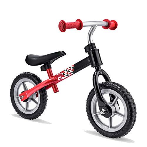 Bicicleta sin pedales con ruedas de 13 pulgadas para niños y niñas de 2 a 4 años, con marco de acero, manillar ajustable y asiento de 20 kg (rojo)