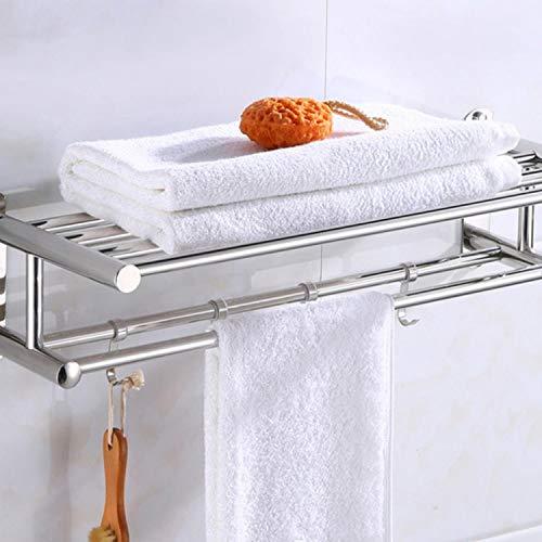 Toallero de baño Organizador de baño Bastidor de Toallas de Acero Inoxidable Montado en la Pared Estante de Pared del Hotel en casa Accesorio de Hardware, 60 cm, China