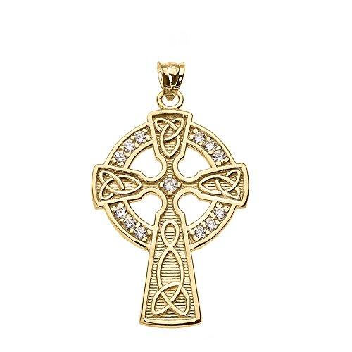 14k Yellow Gold Celtic Cross CZ Accent Pendant
