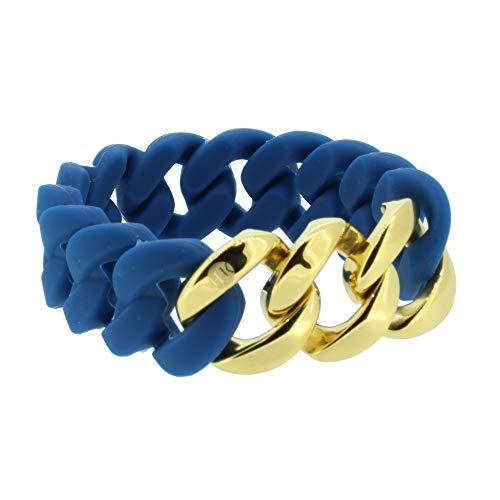 Hanse-Klunker Armband Damen ORIGINAL Silikon Petrol, Edelstahl Gold Armreif Armkette Frauen Mädchen Größe 18-19 cm inkl. Schmuck-Geschenk-Box