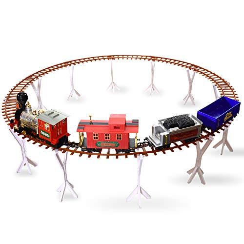 Takestop® Pista Treno Trenino Di Natale SOTTOALBERO Base Albero Diametro 130CM 52 Pezzi Locomotiva Effetto SONORO Supporto BINARI H 27CM 4 VAGONI Treno Movimento Decorazione Natalizie ADDOBBI CASA
