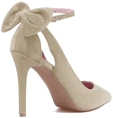 Tomwell Damen Elegant Schuhen mit Hohen Absätzen Schuhe Hochzeit Abend Parteischuhe Sommerschuhe mit Bowknot Beige 34 EU