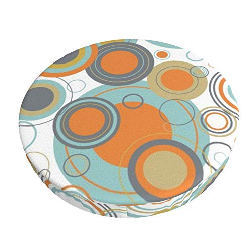 Round Bar Stools Cover,Mid Century Circles Geometric Bubbles Pattern,Stretch Chair Seat Bar Stool Cover Seat Cushion Slipcovers Chair Cushion Cover Round Lift Chair Stool