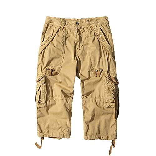 Herren 3/4 Cargo-Shorts Aus Baumwolle Lässige Capri Long Twill Shorts Mit Mehreren Taschen Locker Geschnittene Outdoor-Shorts Unter Dem Knie (Khaki,29)