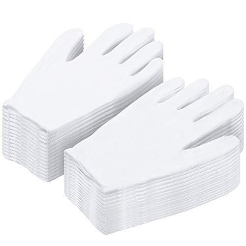 Cotton Gloves for Dry Hands, Paxcoo 20 Pairs Large White Cotton Gloves for Cosmetic Moisturizing and Coin Inspection